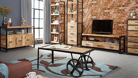 Mesa de caf carro industrial vintage - Salon estilo industrial ...