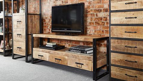 Mueble de tv de plasma onawa estilo industrial vintage for Mueble television industrial