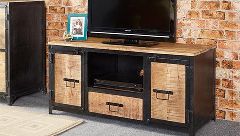 Mueble de tv de metal onawa estilo industrial vintage for Muebles tv industrial