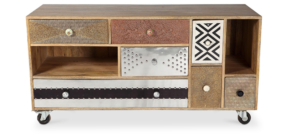 mueble de tv de diseño vintage con ruedas mady - Muebles De Diseno Vintage